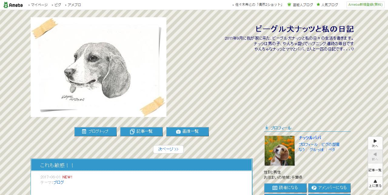 ビーグルのブログ「ビーグル犬ナッツと私の日記」のトップページ