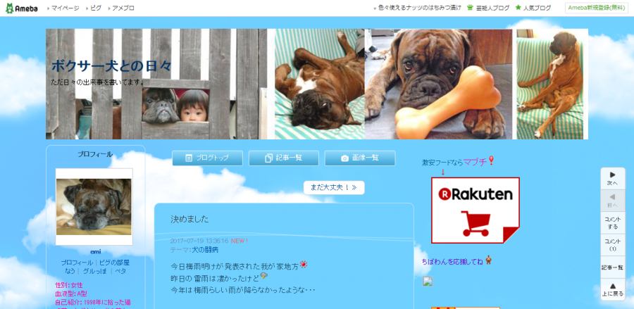 ボクサー犬のブログ「ボクサー犬との日々」