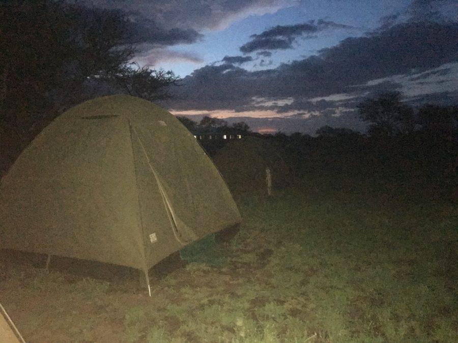 セレンゲティ国立公園内のキャンプサイト アフリカテント泊